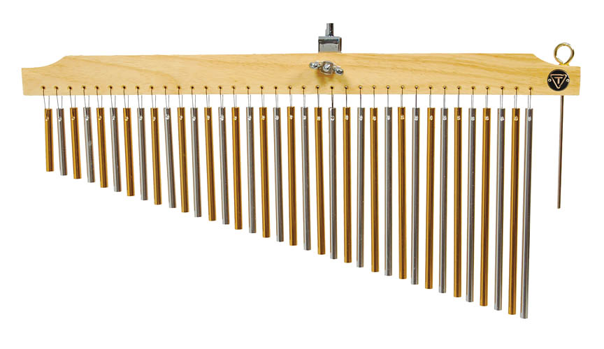 Tycoon Percussion 36 Chrome Chimes With  Natural Finish Wood Bar