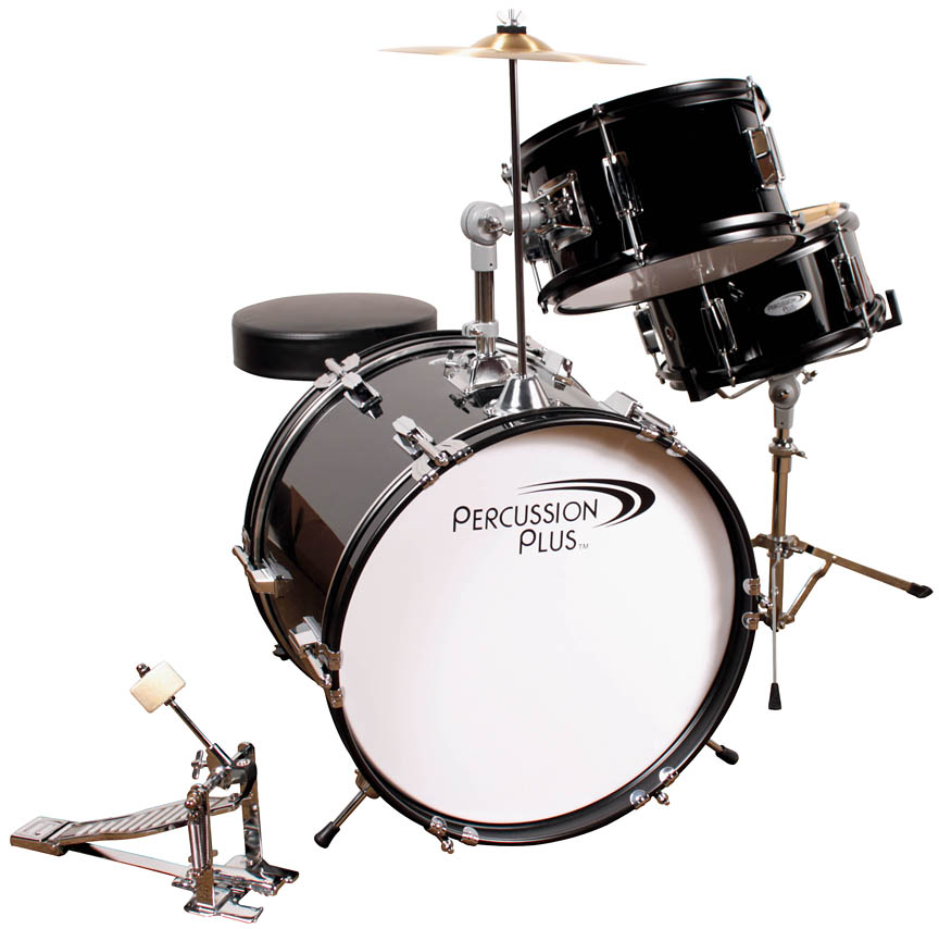 Product Cover for 3-Piece Junior Drum Set with Cymbal & Throne – Metallic Black