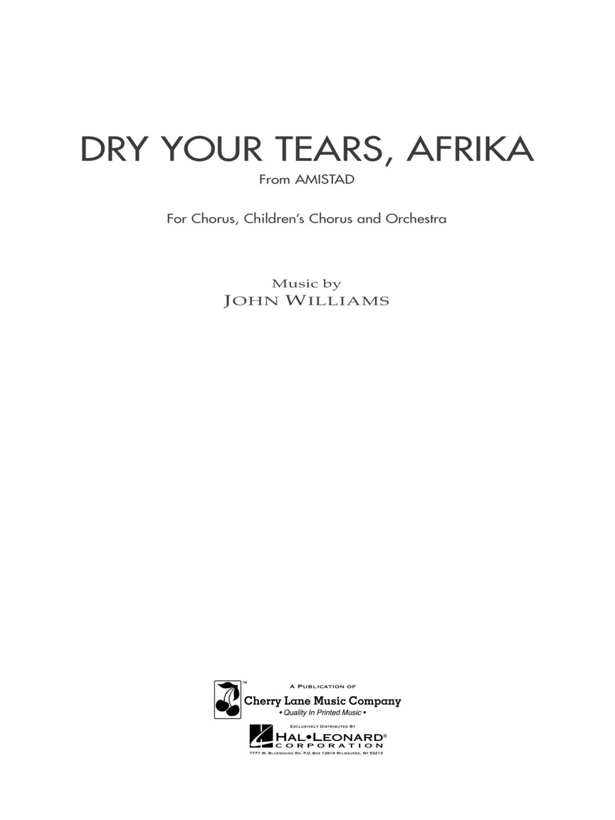 Product Cover for Dry Your Tears, Afrika (from Amistad)