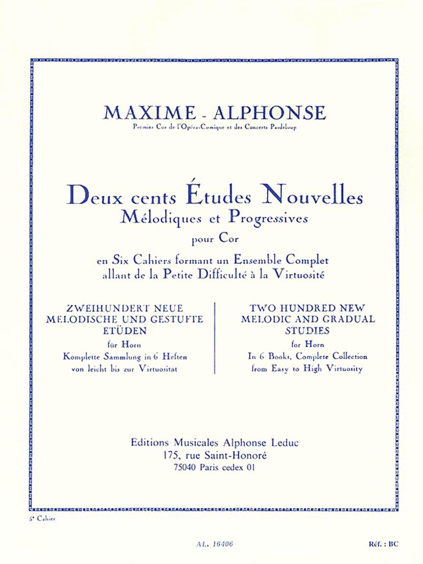 Product Cover for Deux cents Études Nouvelles Mélodiques et Progressives Pour Cor – Cahier 5: Vingt Etudes Tres Diffi