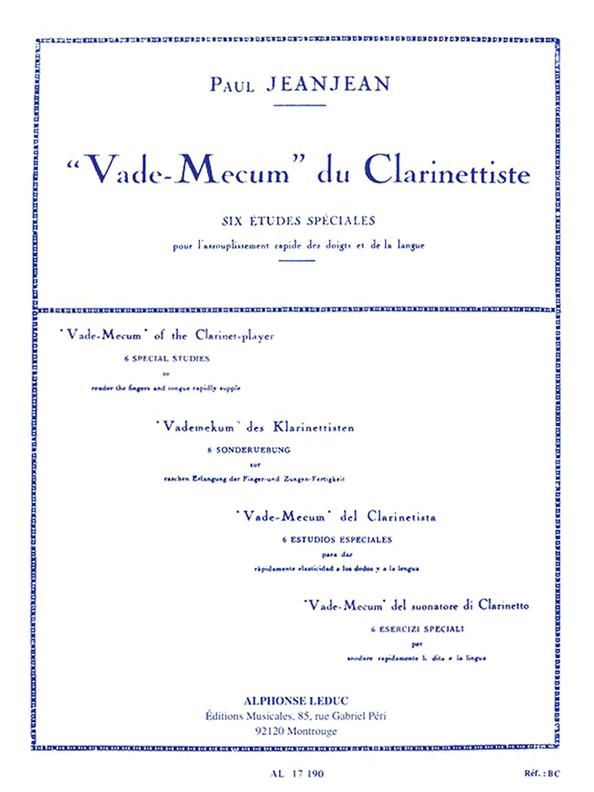 Product Cover for Vade-Mecum du Clarinettiste