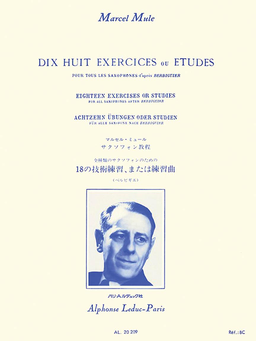 Product Cover for Dix Huit Exercices ou Etudes Pour Tous les Saxophones d'apres Berbiguier
