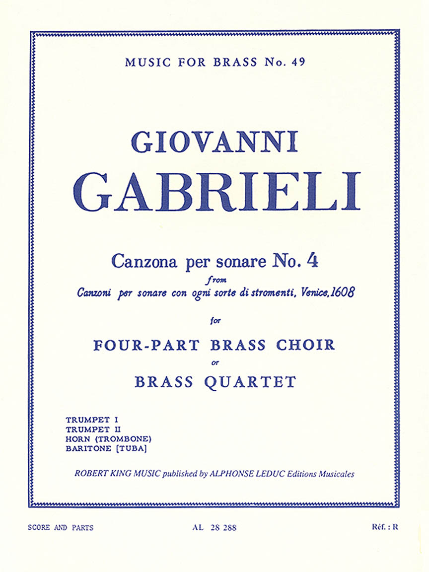 Product Cover for Canzona Per Sonare No. 4, For Four-part Brass Choir Or Brass Quarte