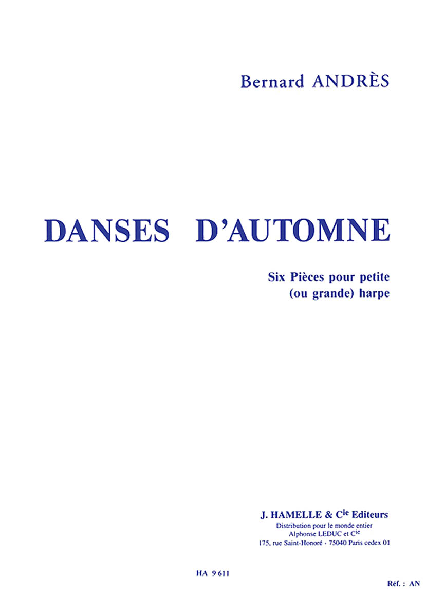Product Cover for Bernard Andres - Danses Dautomne, Six Pieces Pour Petite (ou Grande) Harpe
